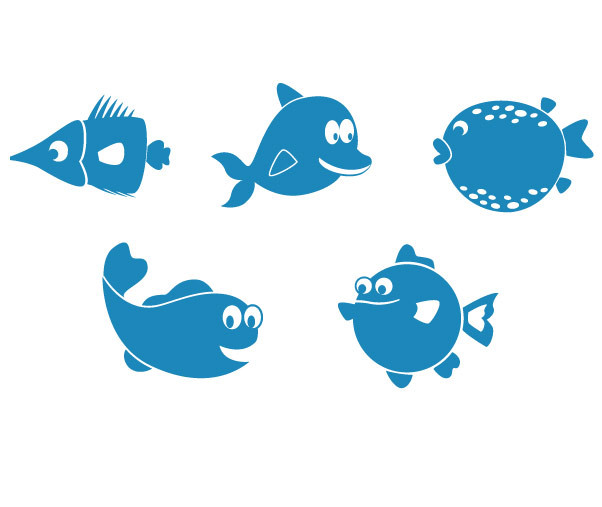 5 fisk mixpakke no. 1- wallstickers